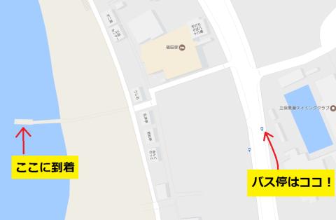水上バス~バス停間のマップ