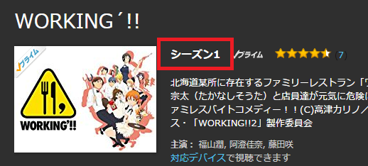 Amazon WORKING'!!!の表示