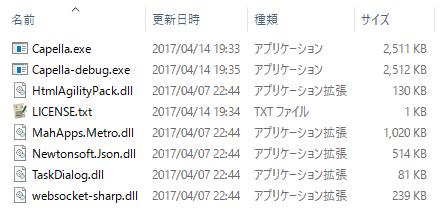解凍後のファイル