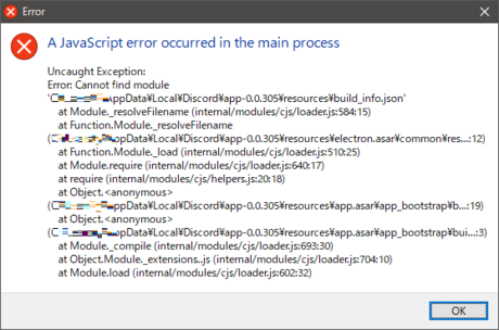A JavaScript error occurred in the main process