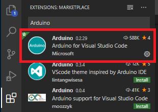 拡張でArduinoを検索