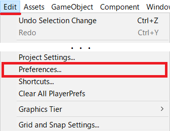 Edit→Preferences...を選択