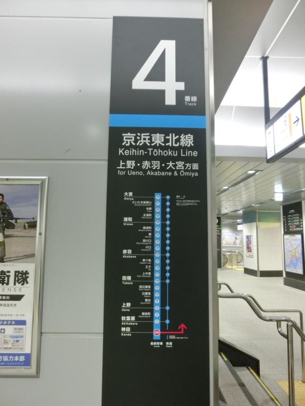 神田駅4番線停車駅一覧(快速通過)