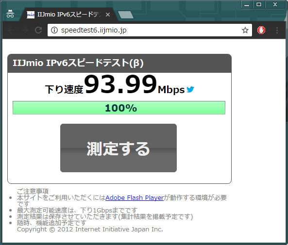 IIJmio SpeedTest (IPv6)