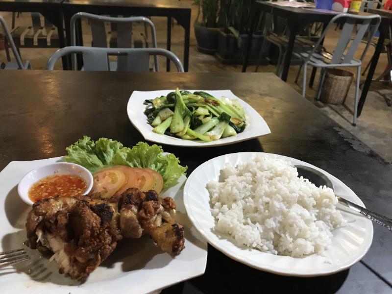 チキンと青菜