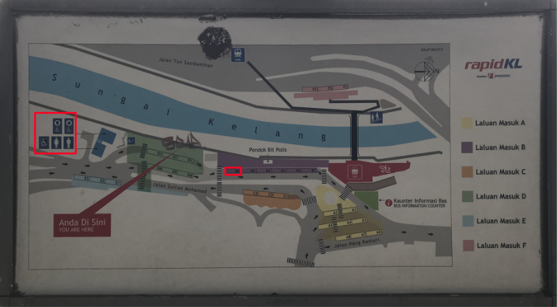 バス乗場の地図