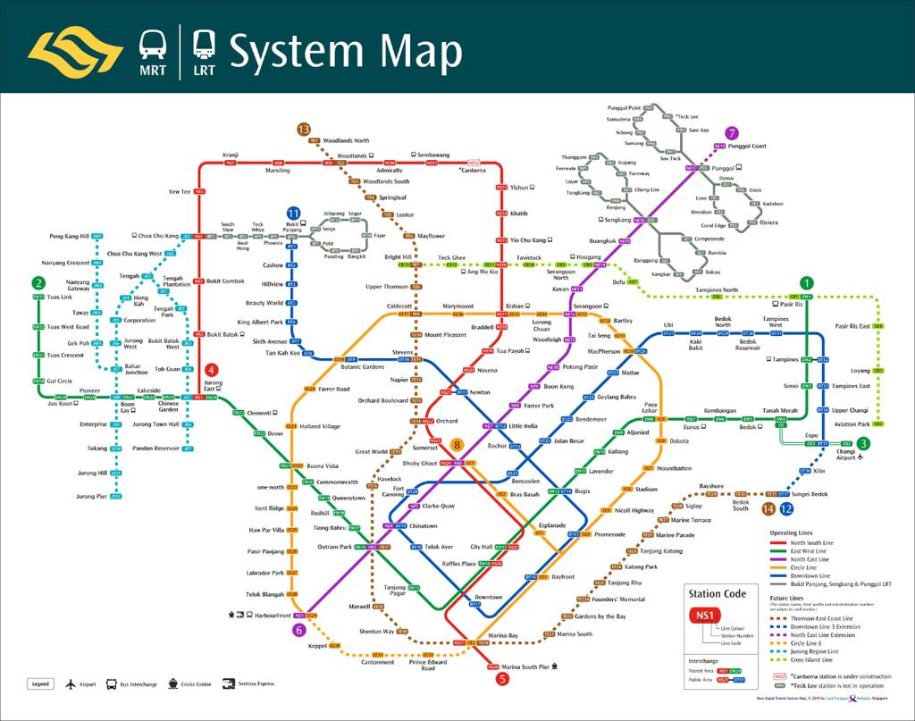 シンガポール鉄道路線図