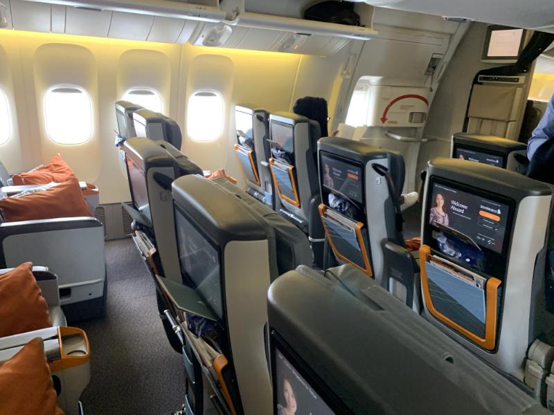 シンガポール航空プレミアムエコノミークラス機内