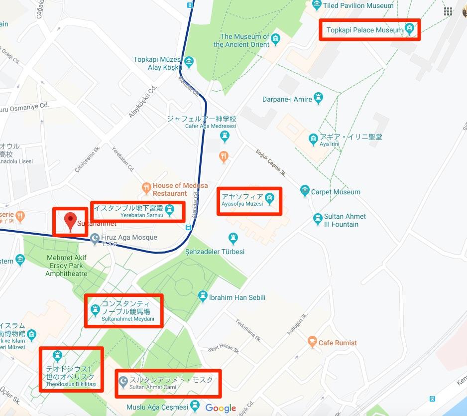 スルタンアフメット地区地図