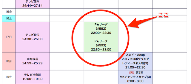 P★LEAGUE放送日