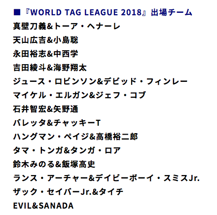 WORLD TAG LEAGUE 2018 参加チーム