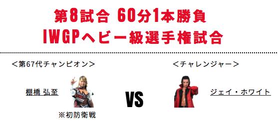 IWGPヘビー級選手権試合:棚橋弘至vsジェイ・ホワイト