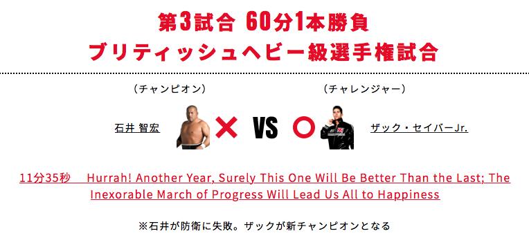 ブリティッシュヘビー級選手権試合:石井智宏 vs ザック・セイバーJr.