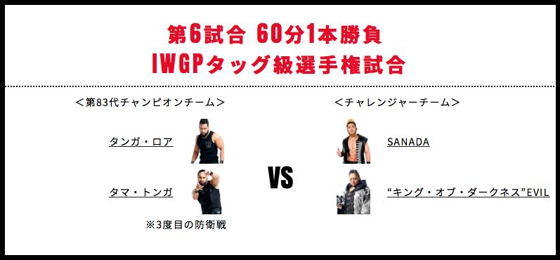 タマ・トンガ&タンガ・ロア vs EVIL&SANADA