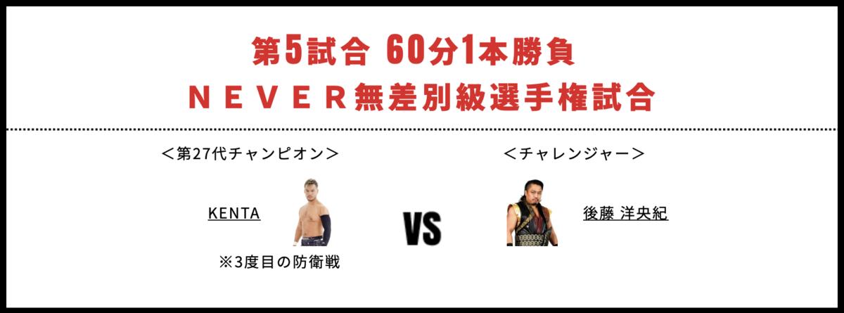 NEVER無差別級選手権試合:KENTA vs 後藤洋央紀