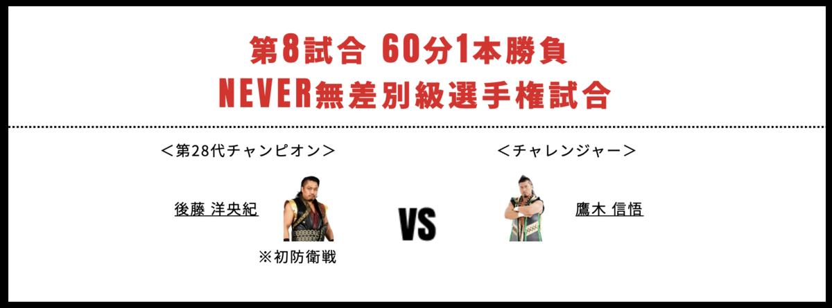 NEVER無差別級選手権試合:後藤洋央紀 vs 鷹木信悟