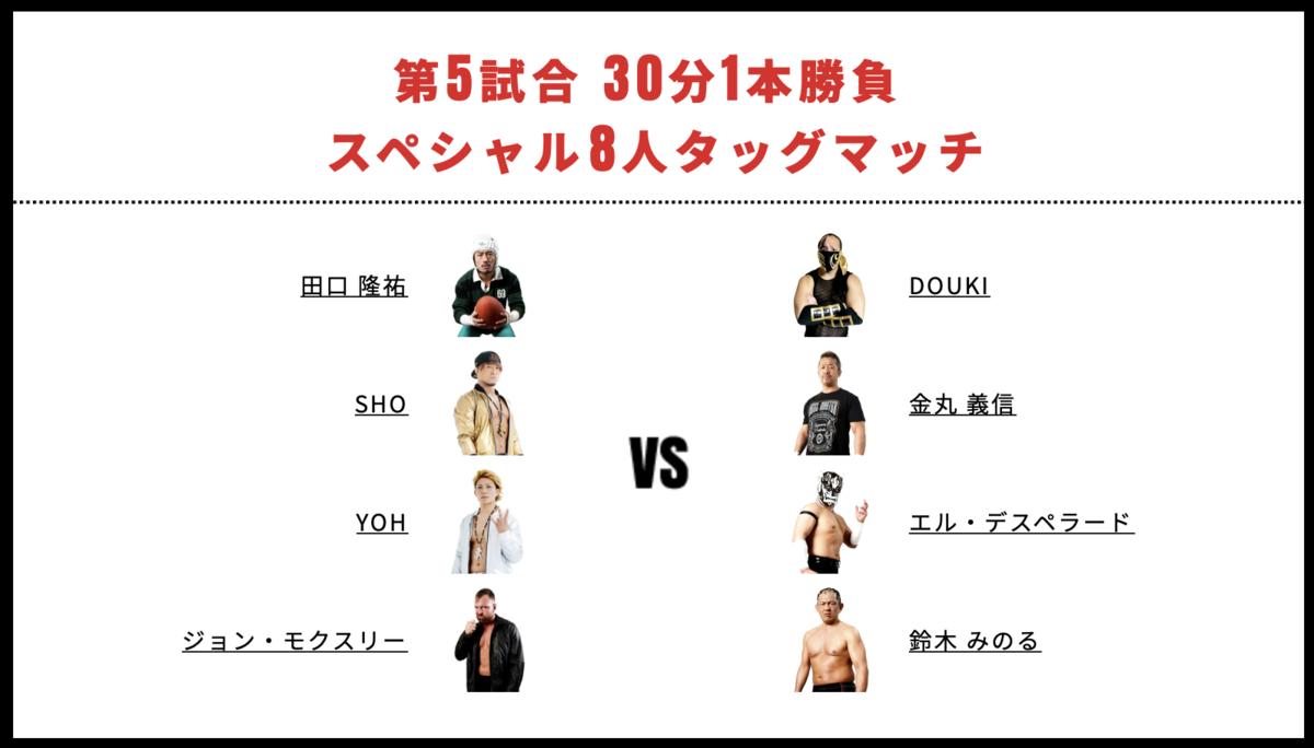 ジョン・モクスリー&SHO&YOH&田口隆祐 vs 鈴木みのる&金丸義信&エル・デスペラード&DOUKI