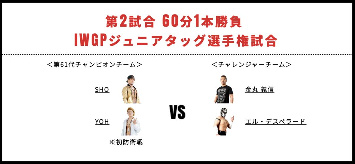 IWGPジュニアタッグ選手権時合:SHO&YOH vs 金丸義信&エル・デスペラード