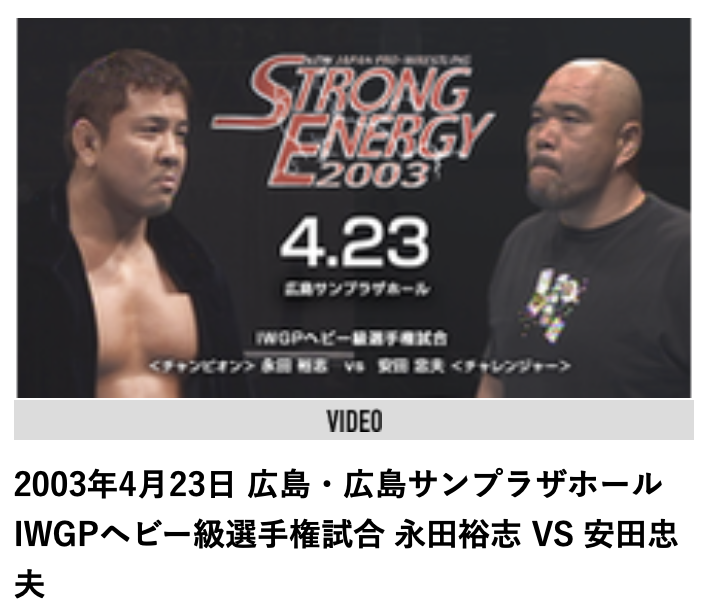 IWGPヘビー級選手権試合:永田裕志 vs 安田忠夫