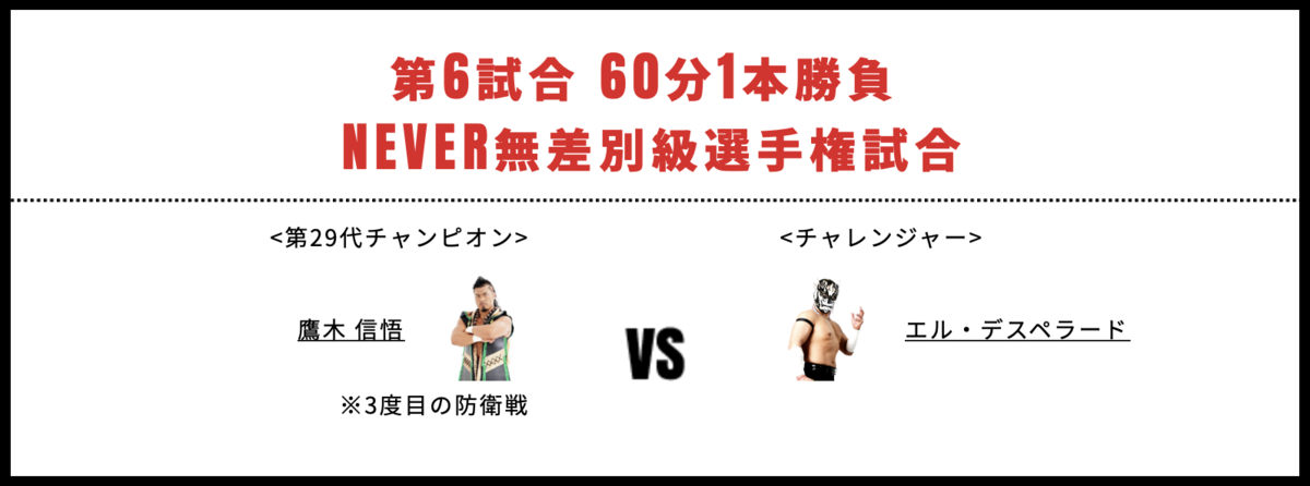 NEVER無差別級選手権試合:鷹木信悟 vs エル・デスペラード