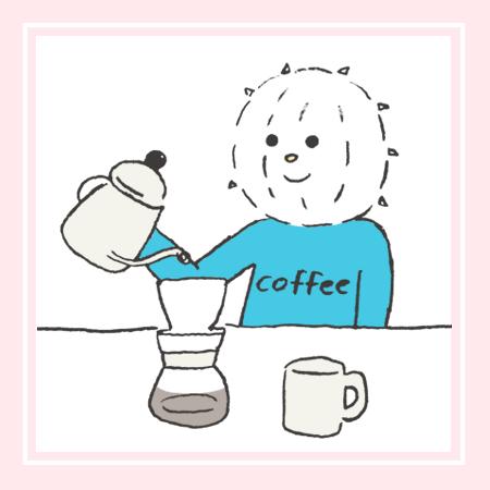 「コーヒーを注ぐ注ぐイコール君」