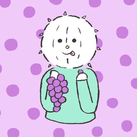 ブドウを食べるイコール君