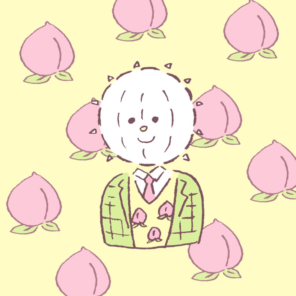 桃ベストを着たイコール君