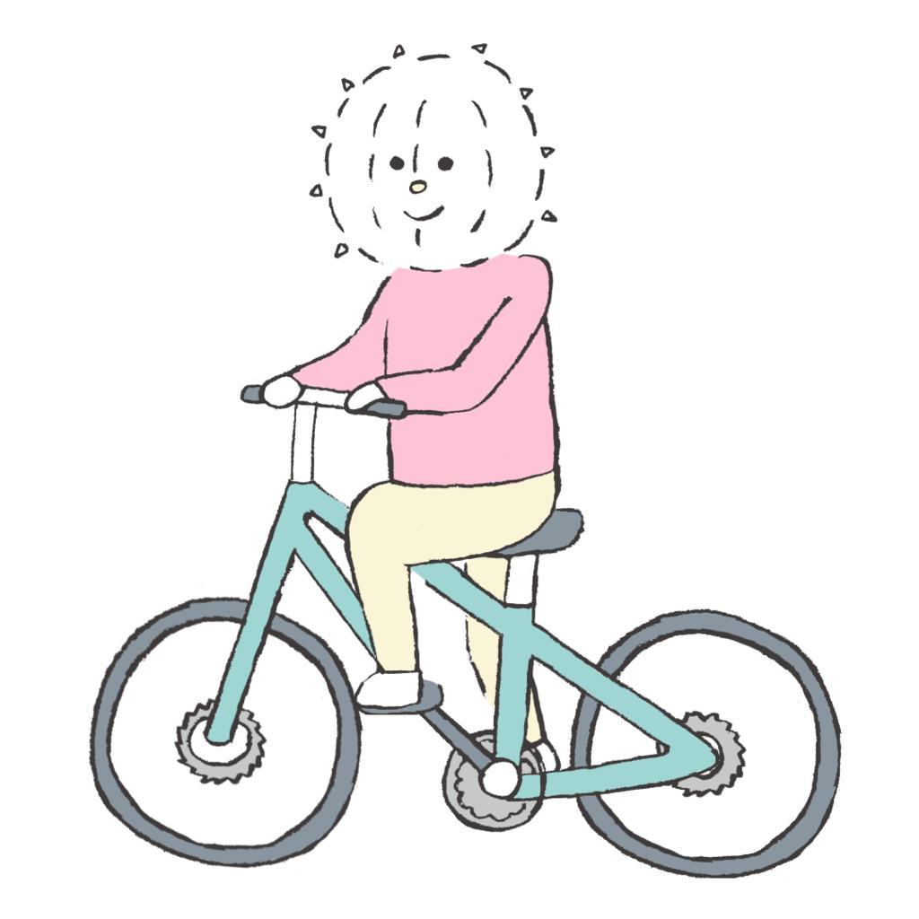 自転車に乗るイコール君