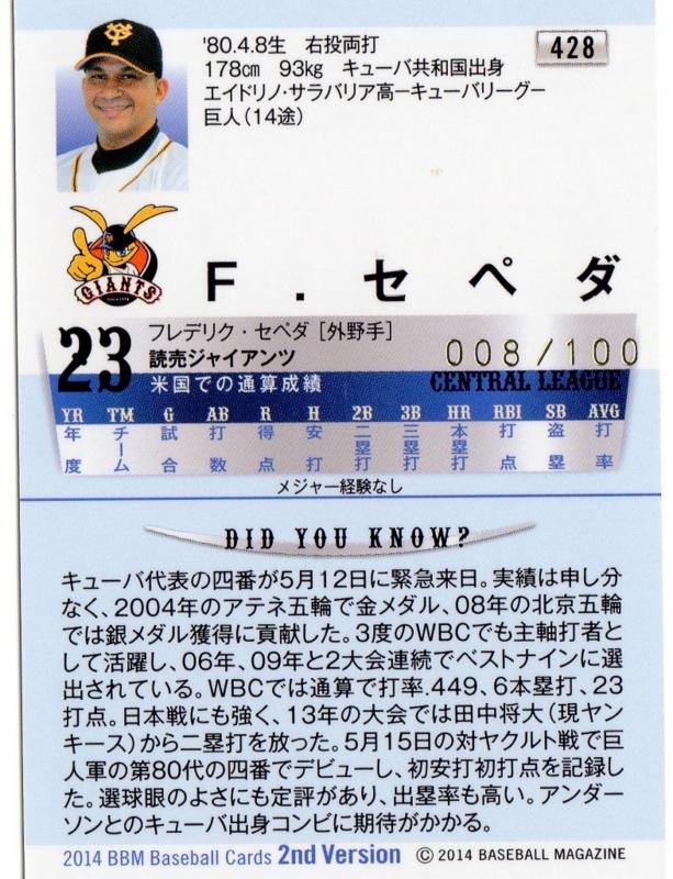 セペダ BBM 世田谷草野球ロスヒターノス