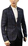 (ナチュシー) NatuSe メンズ テーラード ジャケット チェック 柄 スーツ 地 シンプル エレガント ビジネス 上着 スリム シルエット 秋 冬 (13 ネイビー XXL(日本L))