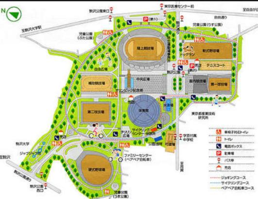 駒沢オリンピック公園の施設案内図
