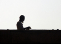 Silhouette of man at Jama Masjid