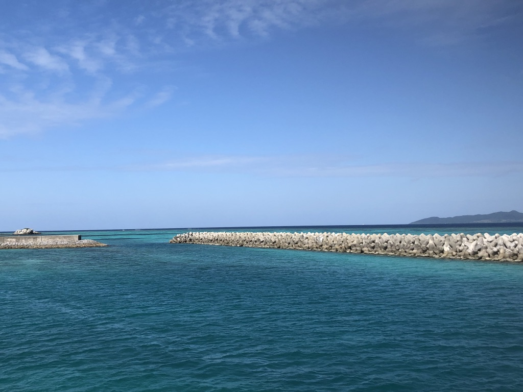 Blue ocean and sky surrounding Taketomi Island