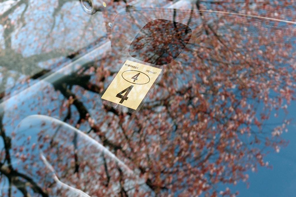 ビートのフロントガラスに映り込む彼岸桜