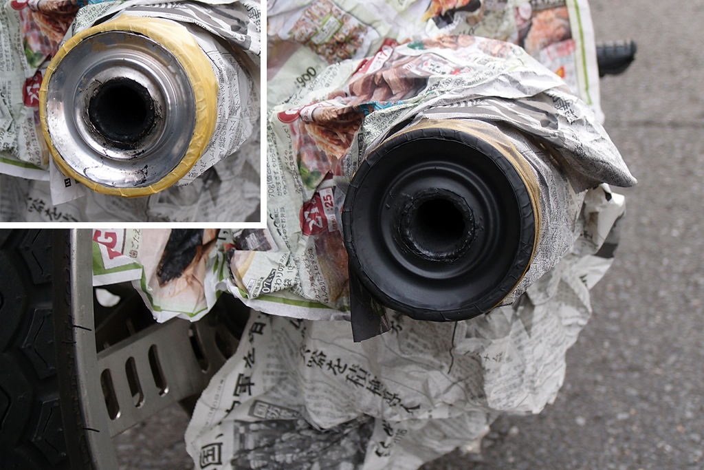 CBX125Fマフラーエンドを耐熱スプレー塗装