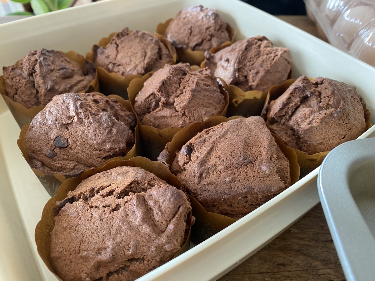 20210211チョコレートマフィンはネットで探したレシピで作りました