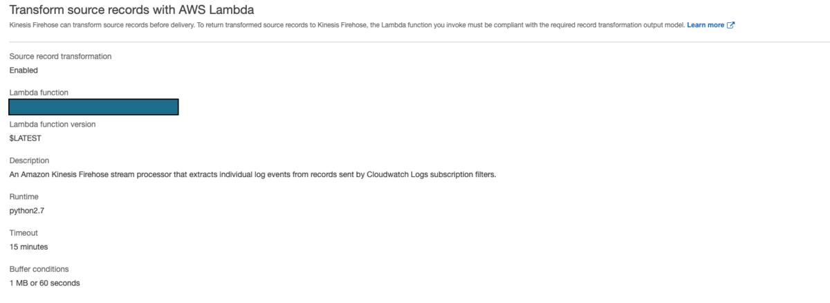 Kinesis Data Firehose - 変換用Lambdaのバッファ設定