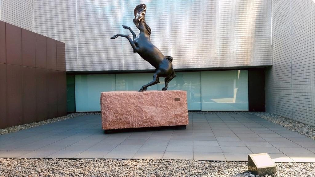 後脚で立つ馬