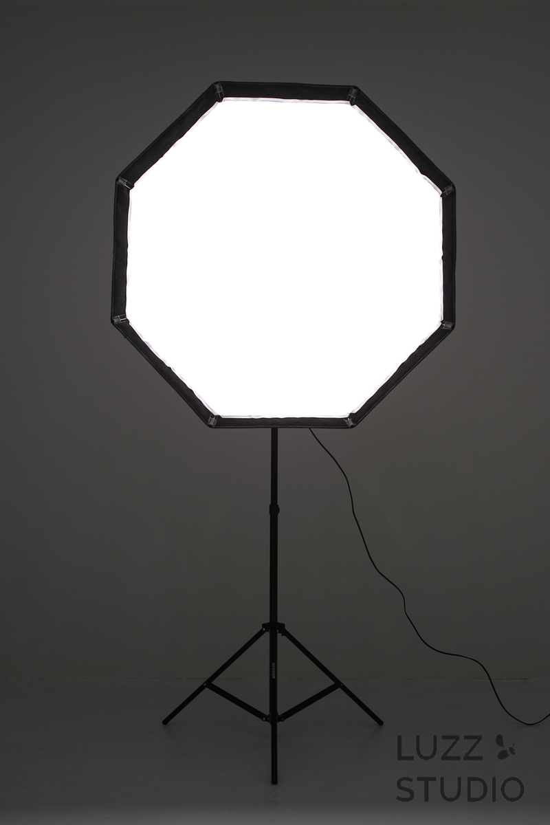 ソフトボックスの光の届き方を正面から撮影