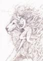 線画 ライオンと炎の精