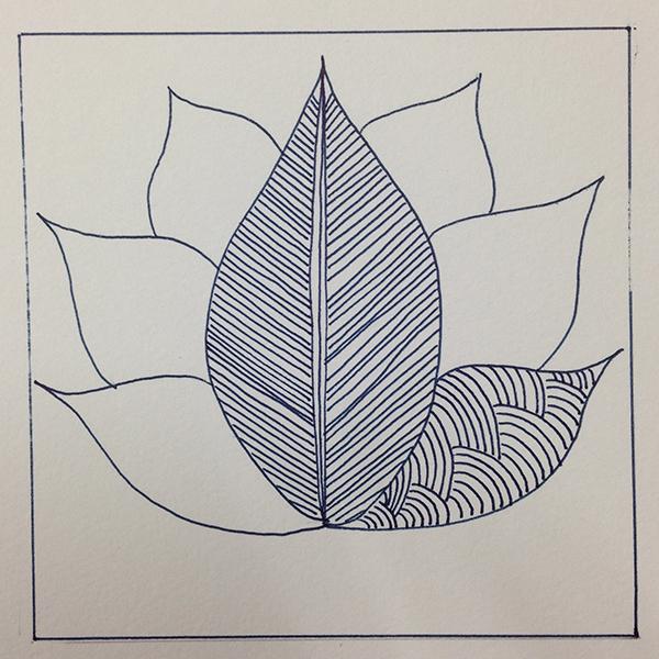 ゼンタングル・蓮の花