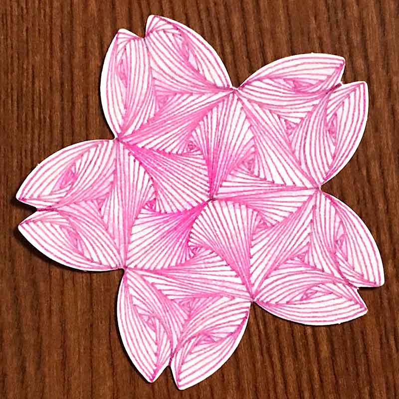zentangle(ゼンタングル)と桜と色鉛筆