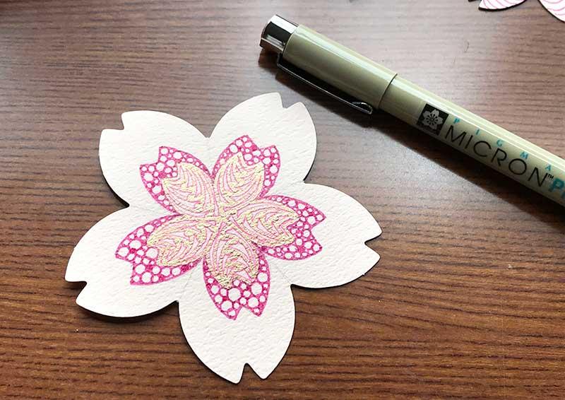 桜のカードでゼンタングル(zentangle)