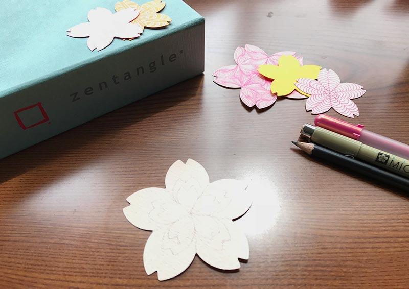 桜のカードのゼンタングル(zentangle)