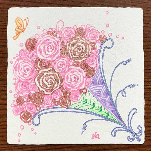 ゼンタングル(zentangle)で母の日の花束