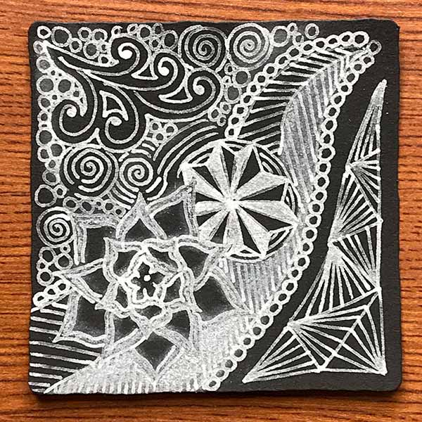 ブラックタイルのゼンタングル(zentangle)