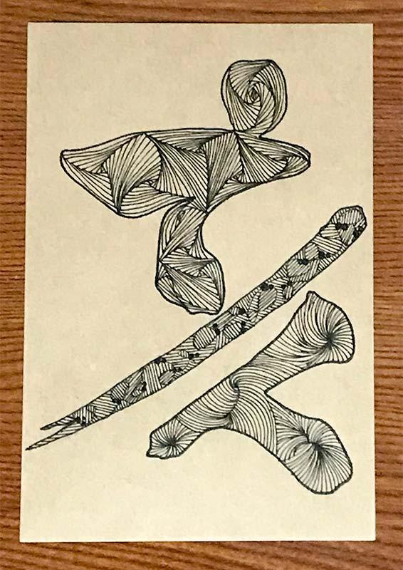 亥の字をモチーフにゼンタングル(zentangle)で年賀状