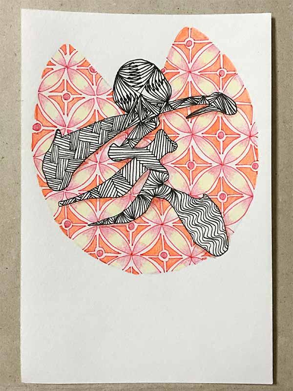 ゼンタングル(zentangle)で年賀状「亥」