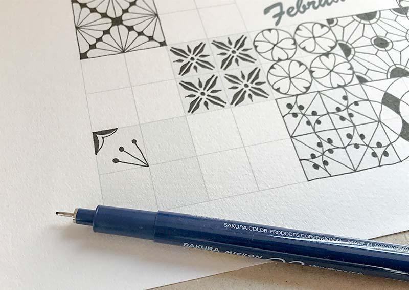 ゼンタングル・フラグメント・フェブラリー(Zentangle Fragments February)