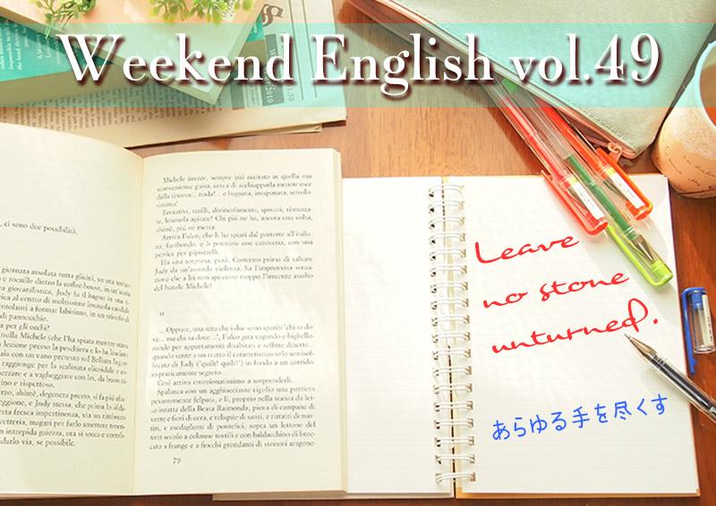 週末英語(weekend english)Leave no stone unturned「あらゆる手を尽くす」
